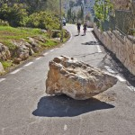Picture of a rock on a road